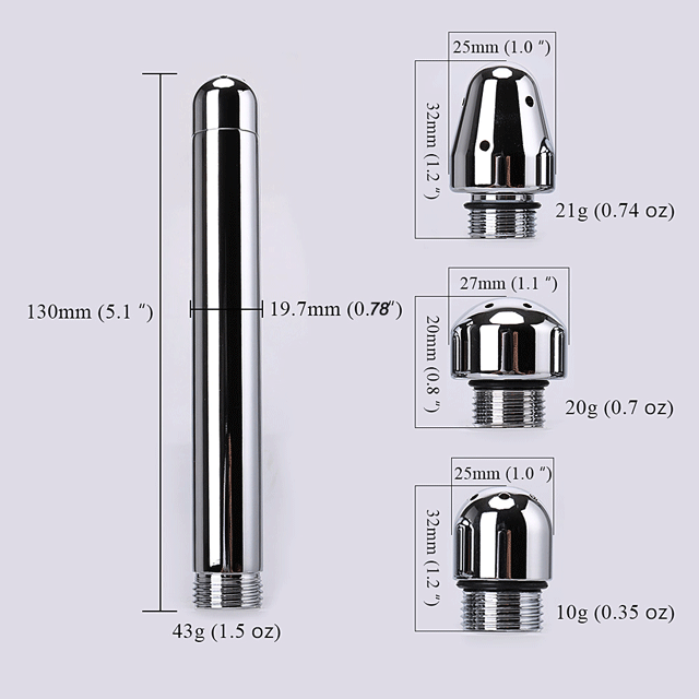 Stainless steel 3 caps Shower Enema kit plug nozzle anal vaginal douche Metal Anal Cleaner