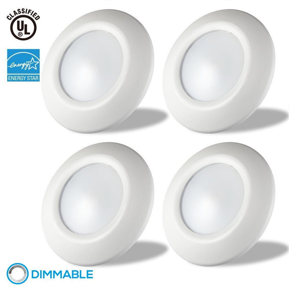 """TORCHSTAR Dimmable LED Surface & Recessed Mount LED Downlight Kit, 85W Equivalent Disk Light for 4"""", 5"""", 6"""" recessed Can and 4"""", 5"""" J-box, Energy Star, 3000K Warm White, 3 YEARS WARRANTY, Pack of 4"""