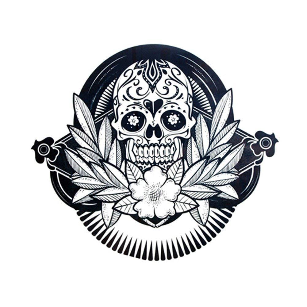 bff085409 Get Quotations · TAFLY Black Skull Head Flower Temporary Tattoo Body Art Tattoo  Stickers Waterproof Fake Tattoos for Men