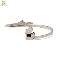 University of michigan bracelet, letter M bracelet for michigan wolverines fan