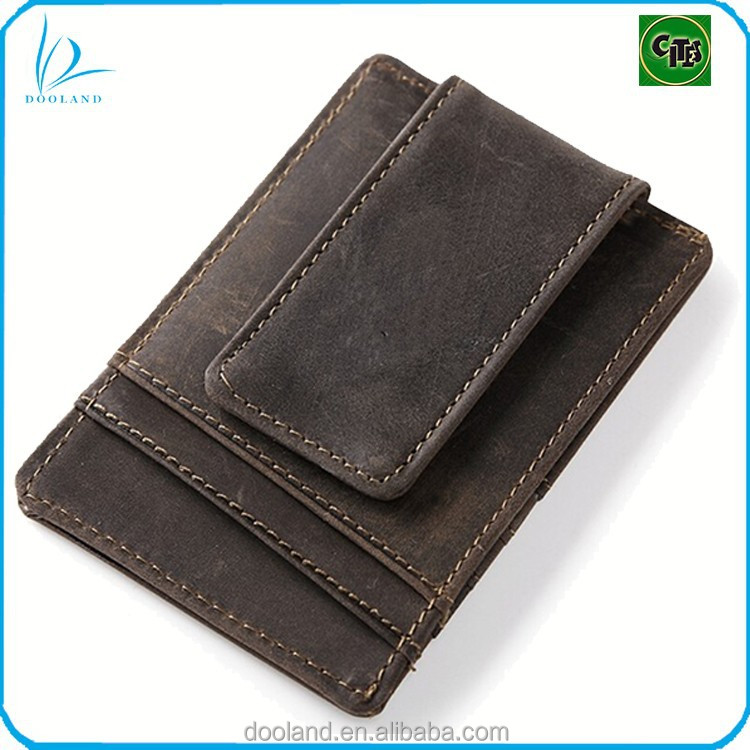 High quality genuine leather magnetic money clip men