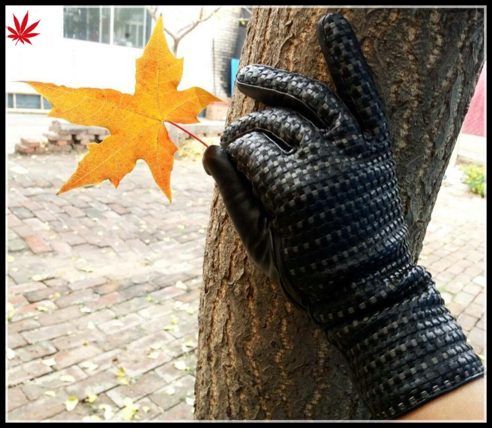 2016 the latest fashion ladies woven leather gloves