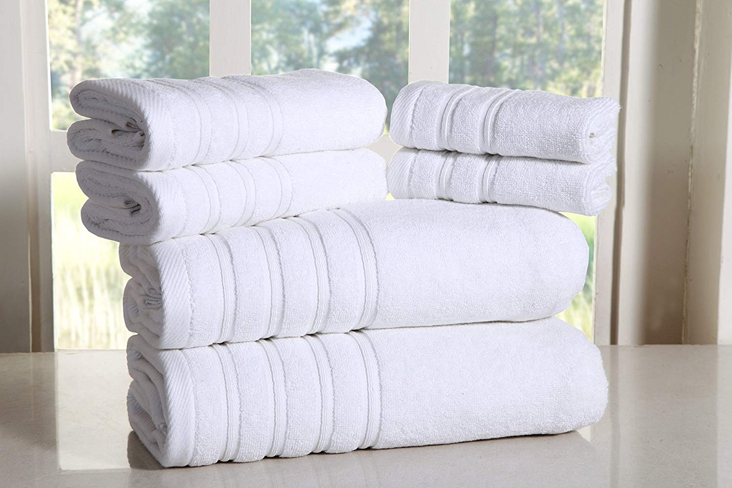Bed Bath Fashions Fade-Resistant 100% Cotton 6-Piece Towel Set, Hotel Quality Bath Hand Wash Towels, Luxury Super Soft and Highly Absorbent Bathroom Towels (White)