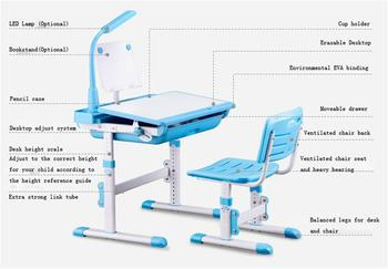 Height Adjustable Kids Writing Table And Chair