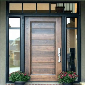 Modern MDF or plywood and solid wooden house front door designs