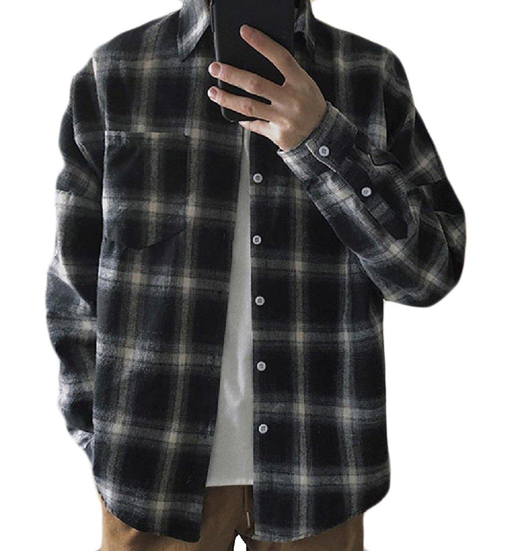3a65b9c6cc22ad Get Quotations · Sheng Xi Men's Baggy Plaid Long Sleeve Pocketed Tee Shirts  Coat Top