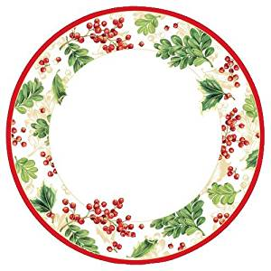 """Christmas Plates Christmas Paper Plates Christmas Party Supplies Dinner Plates 10"""" Holly 16 Pc"""