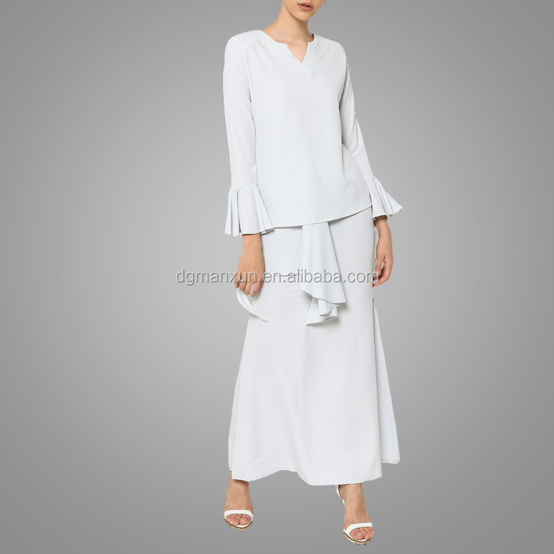 Newest white muslim women baju kurung wholesale islamic plus size women clothing