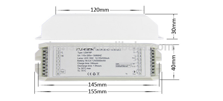 12 ~ 72v emergency lighting module for exit sign