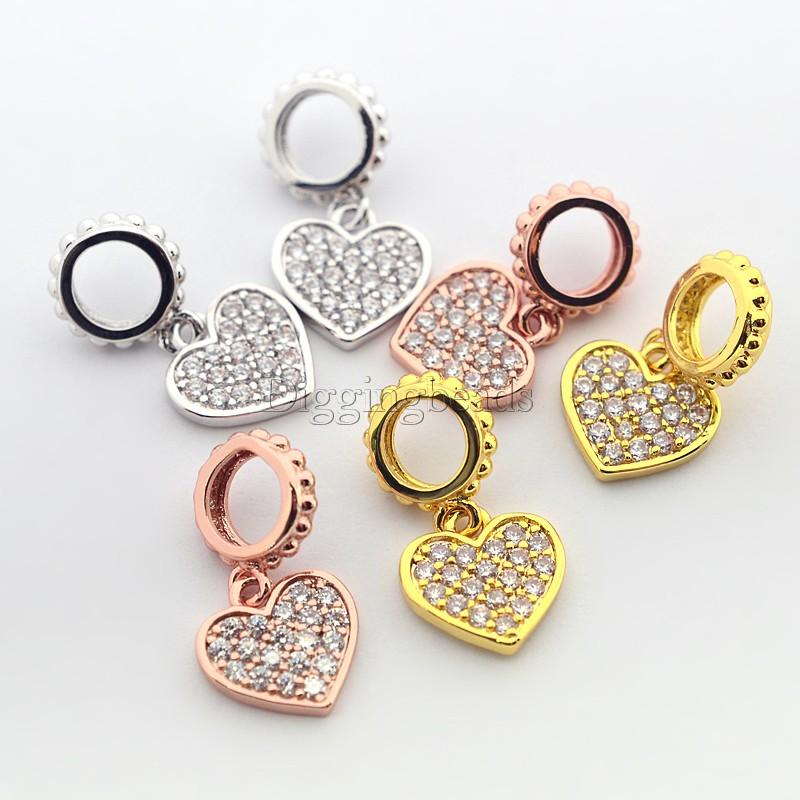 6pcs Mixed Color Brass Micro Pave Cubic Zirconia Heart Pendants about 17mm long, hole 4mm, heart about 10x9x1.5mm