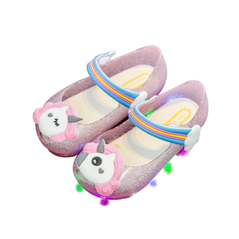 6f533e18dbf44b 2018 new arrivals baby jelly sandals unicorn baby shoes with LED light