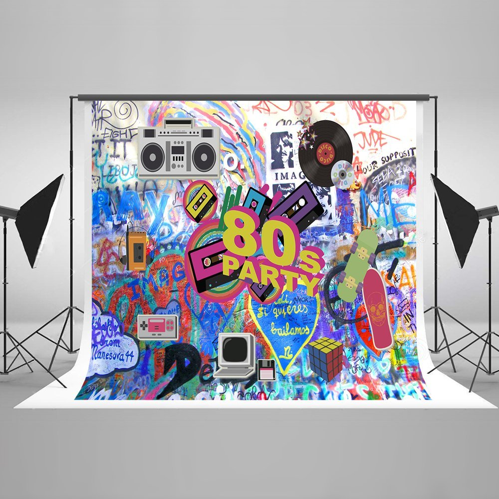 Kate 10ft(W) x6.5ft(H) 80th Photography Backdrop No Wrinkle Hip Hop 80's Party Decoration Photo Booth Props