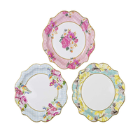 VOBAGA tea party vintage floral small paper plates