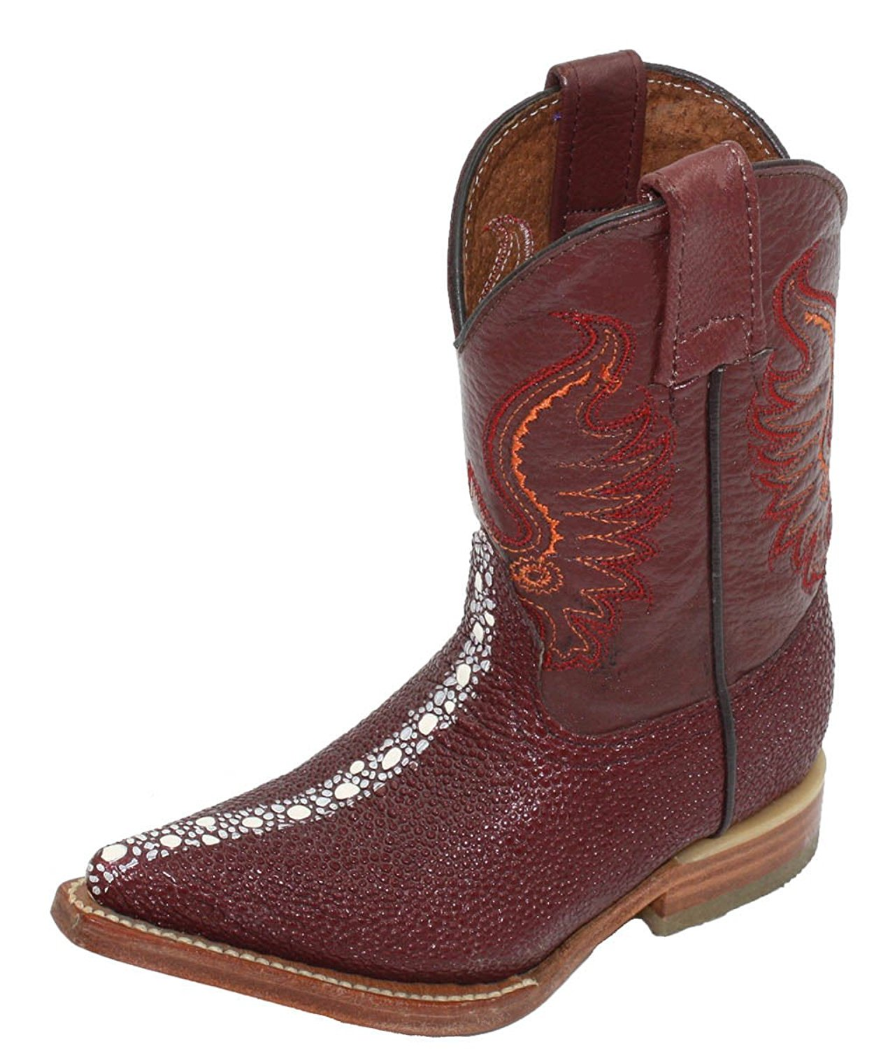Dona Michi Kids Unisex Genuine Leather Stingray Design(Embossed) Cowboy Western Durable Boots
