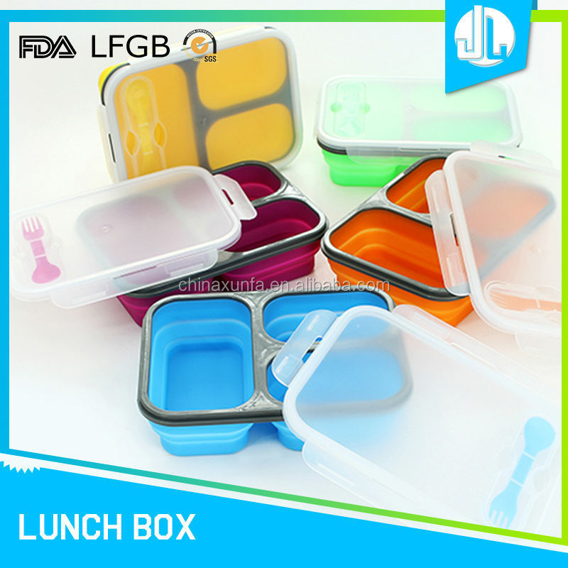 3-compartment microwavable silicone design cheap food grade food container