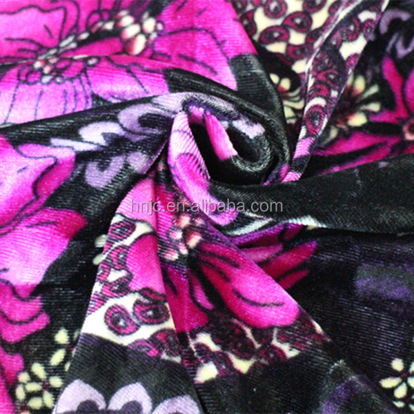 Floral stretch warp knitted polyester spandex blend fabric for apparel