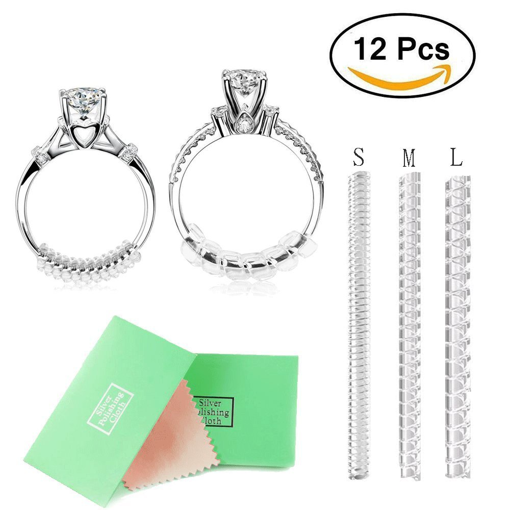 2mm//3mm//4mm Ring Size Adjuster with Jewelry Polishing Cloth,3 Sizes Fit for Any Rings,Clear Ring Sizer,Perfect for Loose Rings,Pack of 12