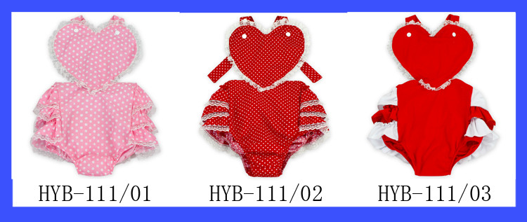 2017 Valentines Day Heart Romper Plain Pink Baby Rompers With Dots Cute Baby Girl Woven Cotton Romper