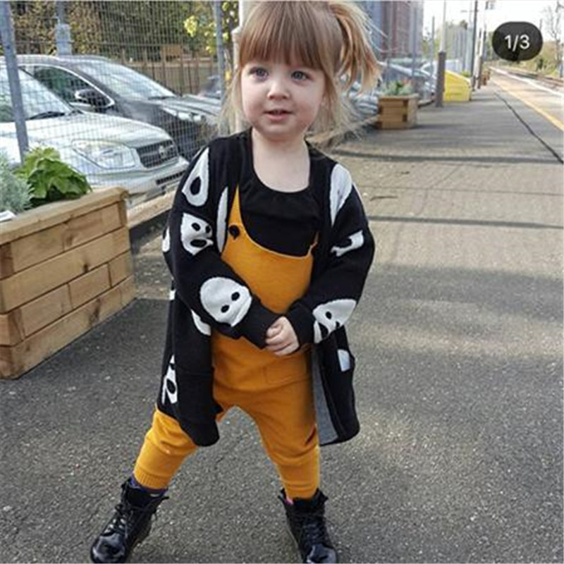 2018 winter black white print kids girls knit sweater cardigan