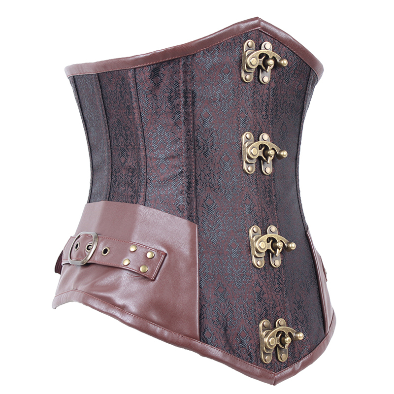 7c959666c35 Get Quotations · Brown Steampunk Clothing Women Plus Size Corset Top Clasp  Gothic Full Steel Bone Corsets Underbust Bustier