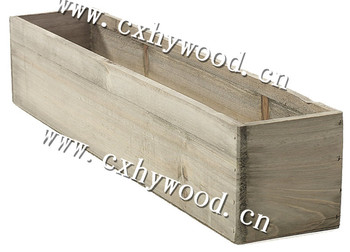 Shabby Chic Grey Wooden Planter Box Unfinished Wood Herb Planter