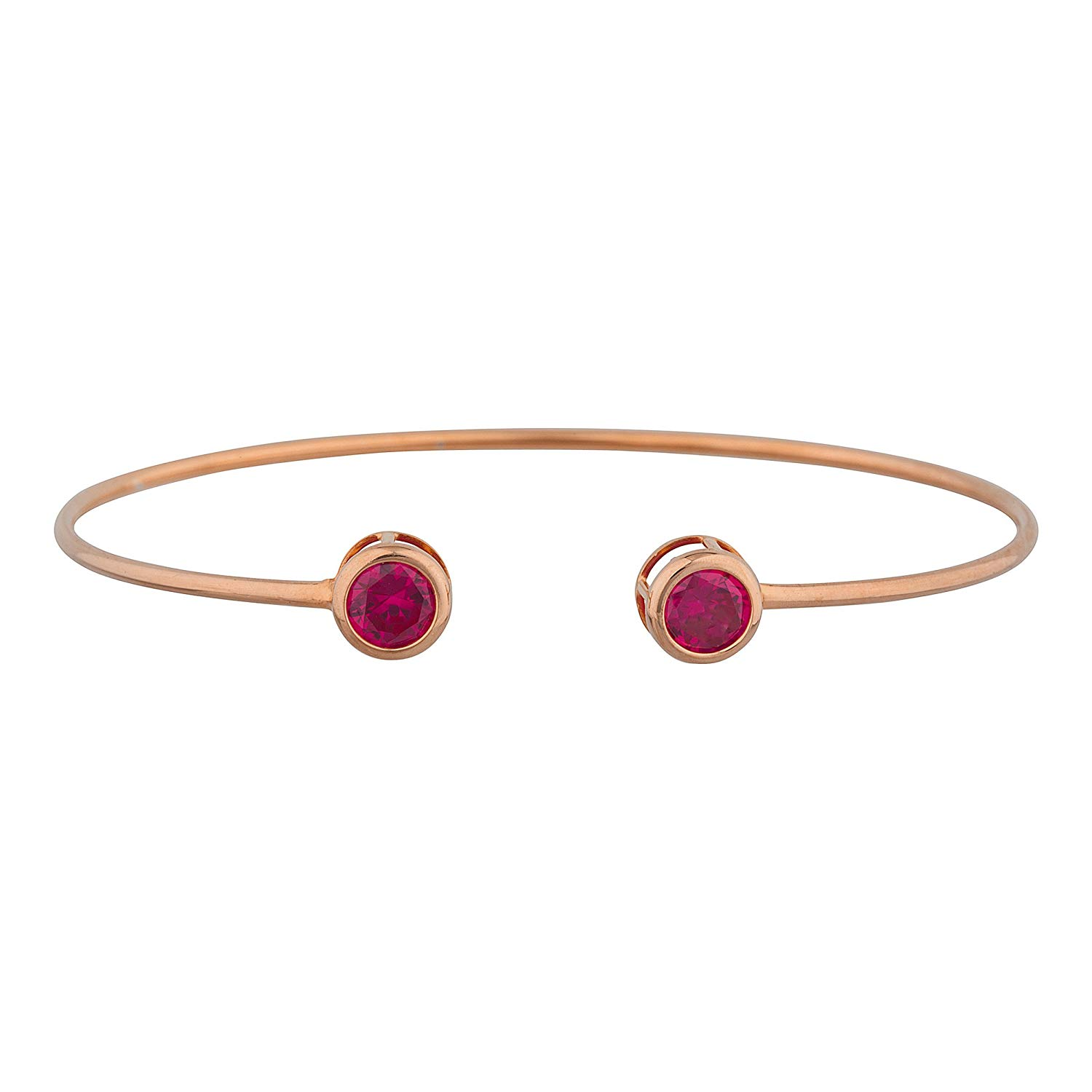 2 Ct Created Ruby Round Bezel Bangle Bracelet 14Kt Rose Gold Plated Over .925 Sterling Silver