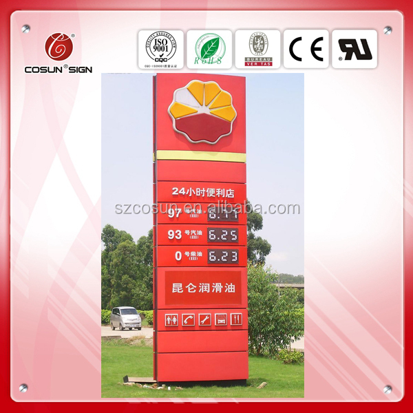 Advertising pricing pylon sign for gas station