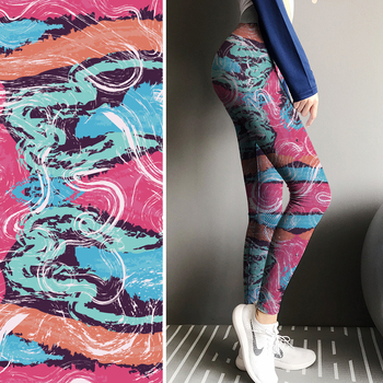 High Stretch best workout shirt material print fabric for leggings