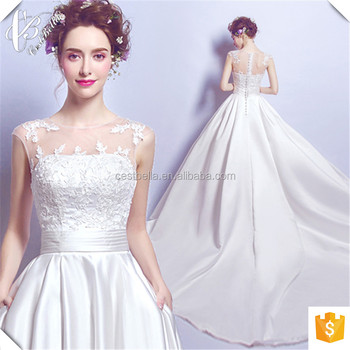 2017 Newest Satin Pure White Ball Gown Wedding Dress Cestbella TS2097