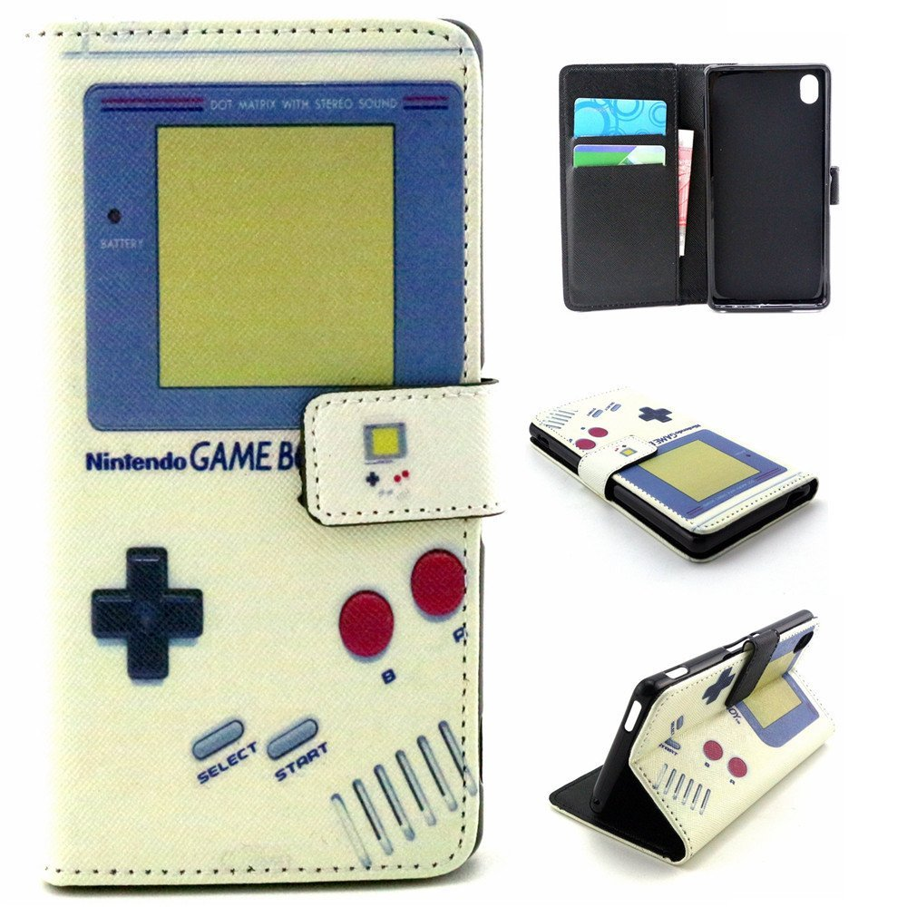 M4 Aqua Case,Sony M4 Aqua Case,[Wallet Case],XYX [Kickstand][Card Slot][Flip][Slim Fit] Premium Protective Case for Sony Xperia M4 Aqua [Retro Game Boy]