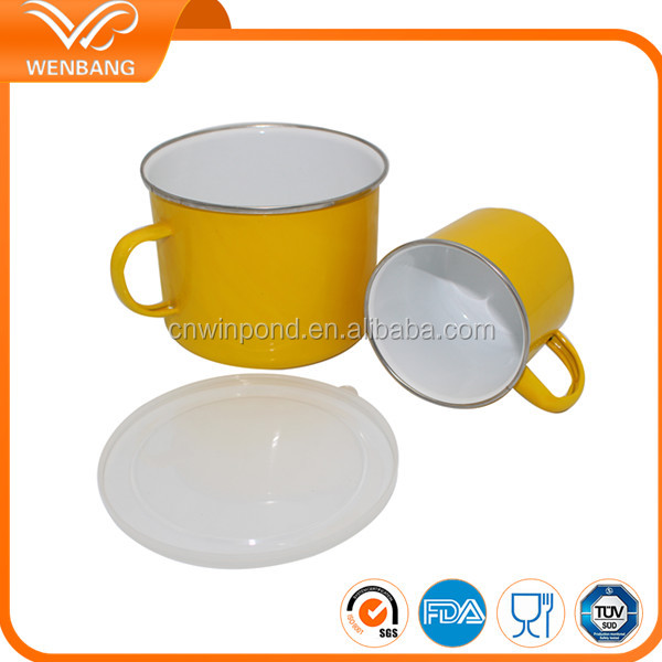 Eco-friendly LFGB certificate logo printed custom enamel beer cups mugs ningbo