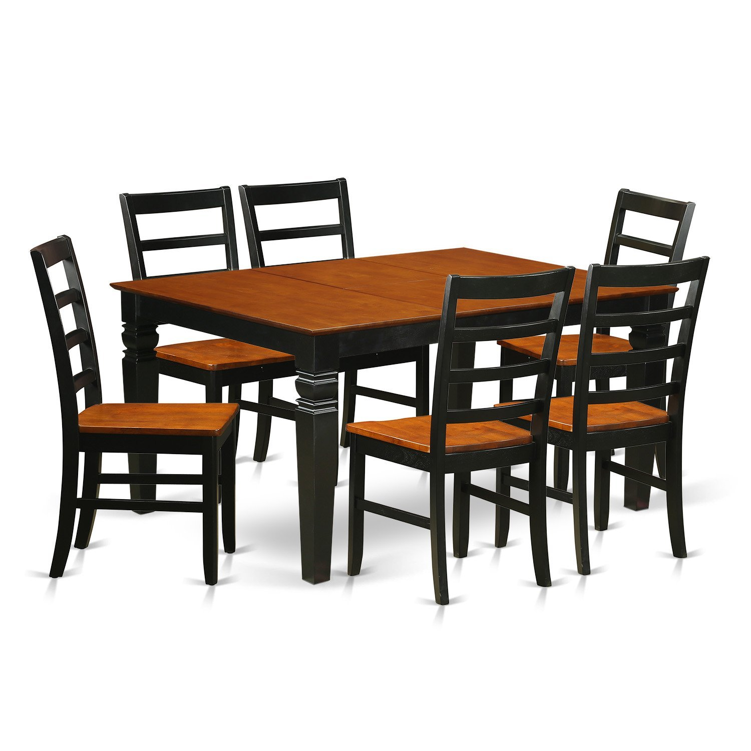 East West Furniture Weston WEPF7-BCH-W 7 Pc Kitchen Set Table and 6 Wood Dining Chairs, Black