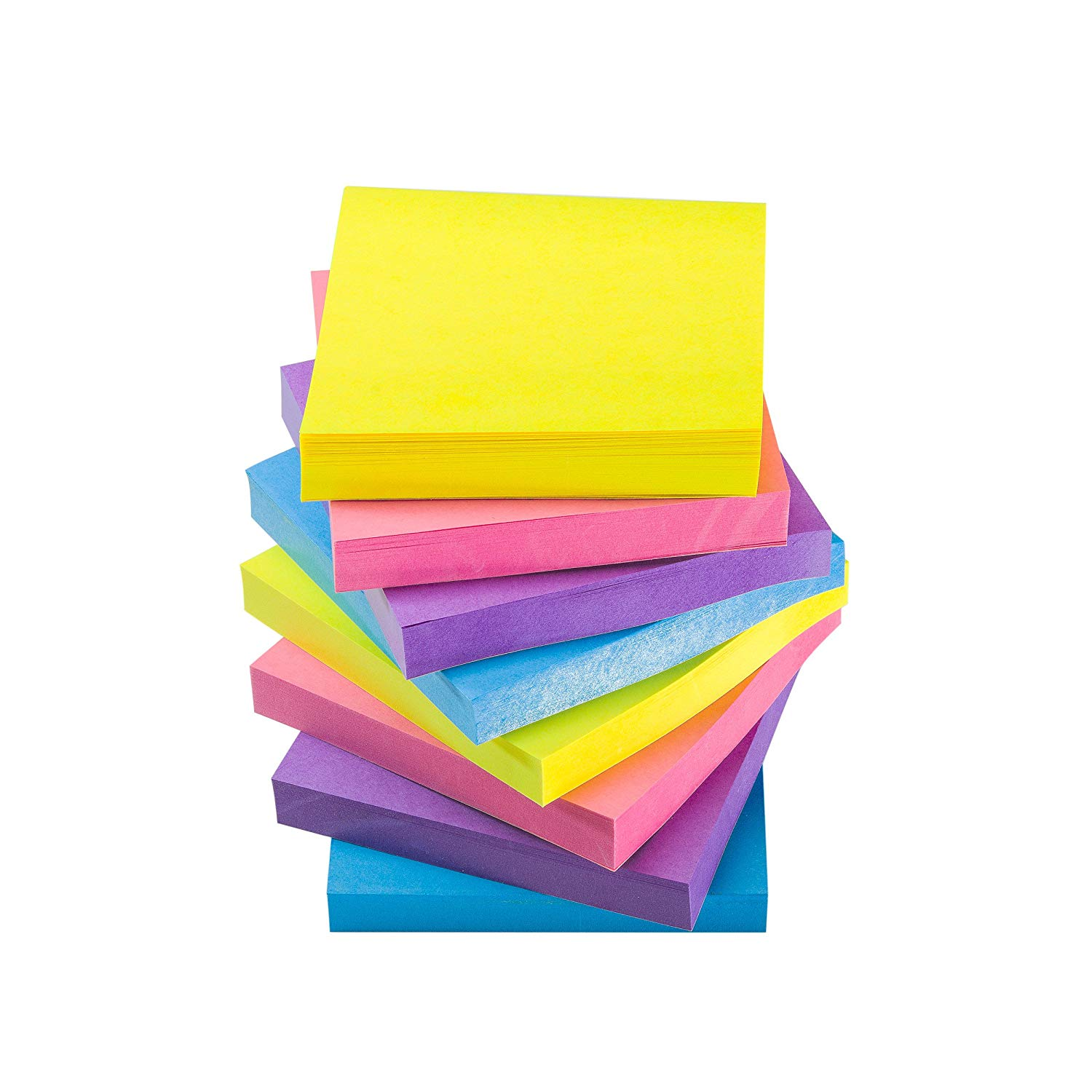 Sticky Notes Self-Stick Notes - 12 Pads/Pack 100 Sheets/Pad - 3 in x 3 inches - Adhesive Notes - Assorted, (Extreme)