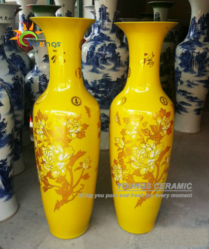 Attractive Chinese Ceramic Yellow Color Large Decorative Floor Vases From 48inch To 88  Inches High For Wholesale