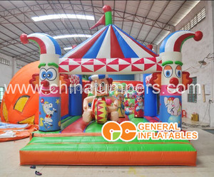 strong colored inflatable clown bouncy castle; 0.55mm vinyl material inflatable carnival clown bouncer for sale