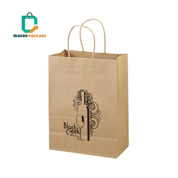 Canton Fair Accept Custom Order Restaurant Food Take Away Coffee Carry Brown Kraft Paper Bag
