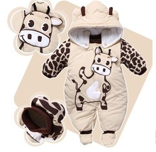 Jumpsuit + Hat + Shoes Animal Style Warm Hooded Baby Rompers Winter Boys Girls Footie Clothes Outfits Newborn Clothing