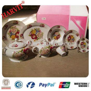 European Style Porcelain Rose Flower Dinnerware Sets/Luxury Fine Royal Super white Porcelain Dinner Set & European Style Porcelain Rose Flower Dinnerware Sets/luxury Fine ...