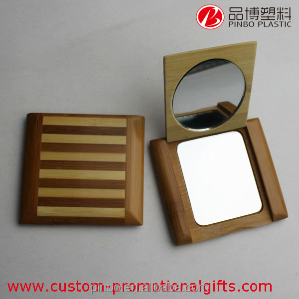 wooden mirror pocket, stripe decorative two way Mirror folding mirror