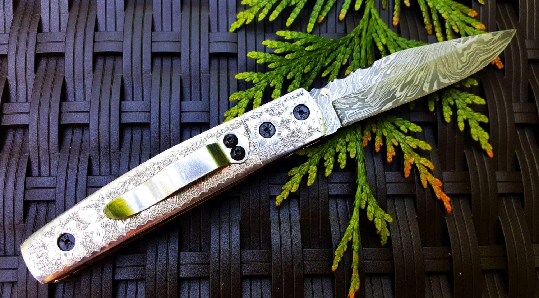 "3.5"" Damascus Blade Custom Handmade Folding knife w/ Engraved Handle, Pocket Clip, File-Work, Liner Lock & Sheath cover UDK-US-A0-123"