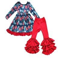 Persnickety Baby Clothes Flower Ruffle Dress With Bell Pants Sets Fall/Spring Boutique Kids Clothing