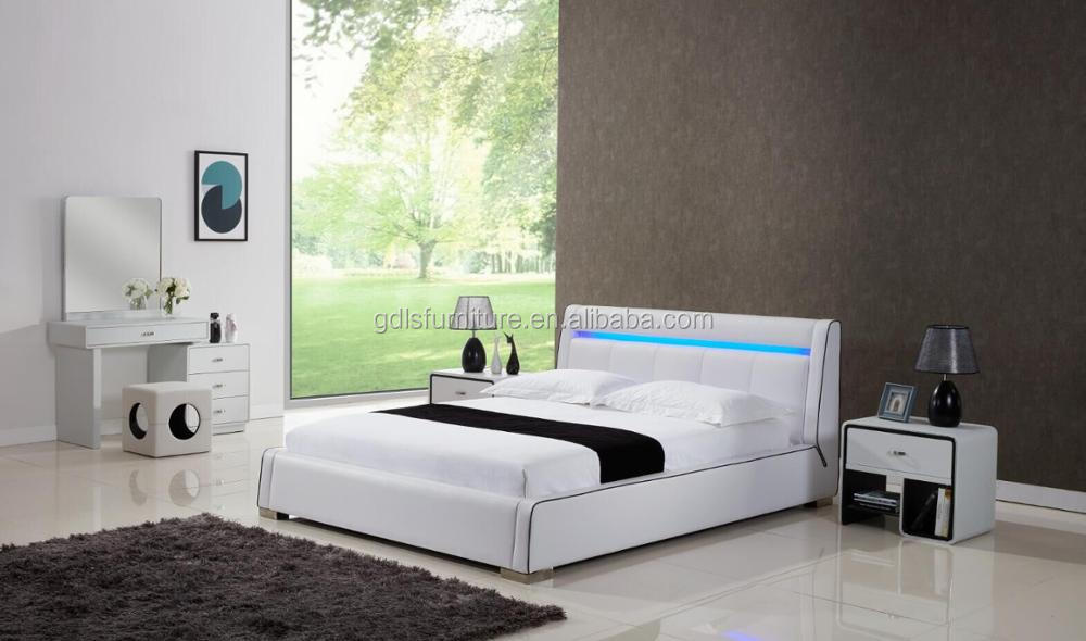 Hot Sale King Size Bed With Led Bed Light Pupvc Bed Frame Buy