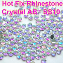Ss10 1440 pcs limpar AB cristal DMC HotFix natator strass cristal para vestido de ferro em transferência de vestuário vidro pedra
