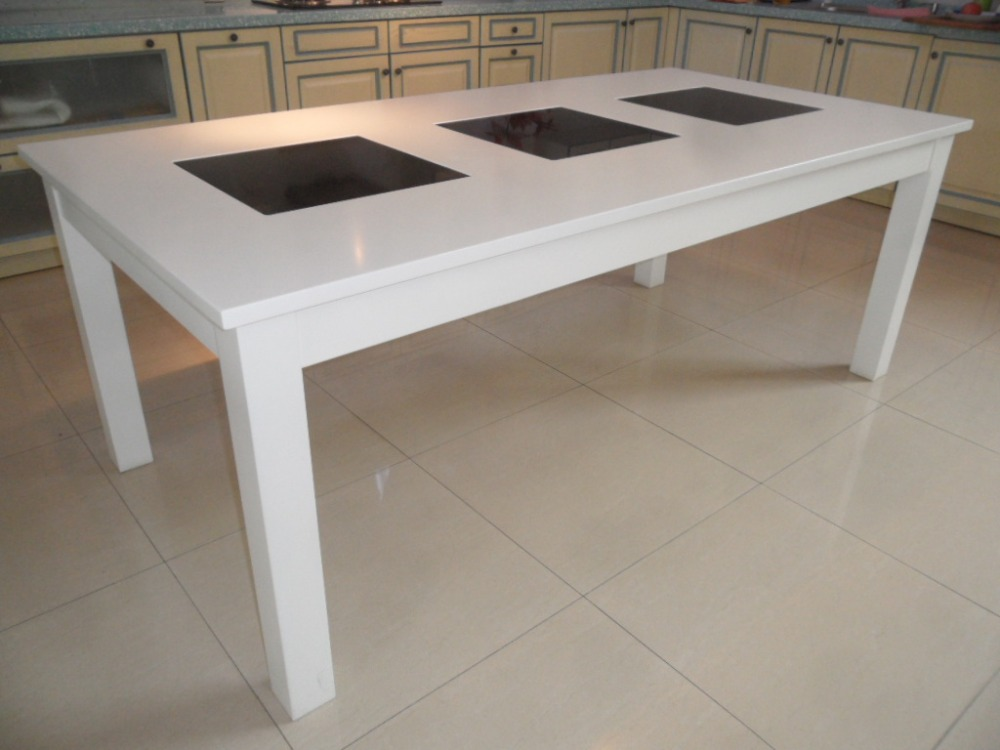 Luxury white high gloss marble top wooden dinner tables and chairs for kitchen room