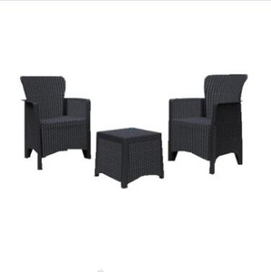 Outdoor PP injection plastic sofa sets 3pcs rattan pattern Garden Patio Furniture
