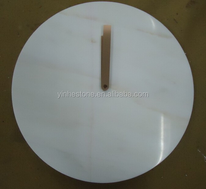 Newly decorative white marble wall clock face stone wall clock