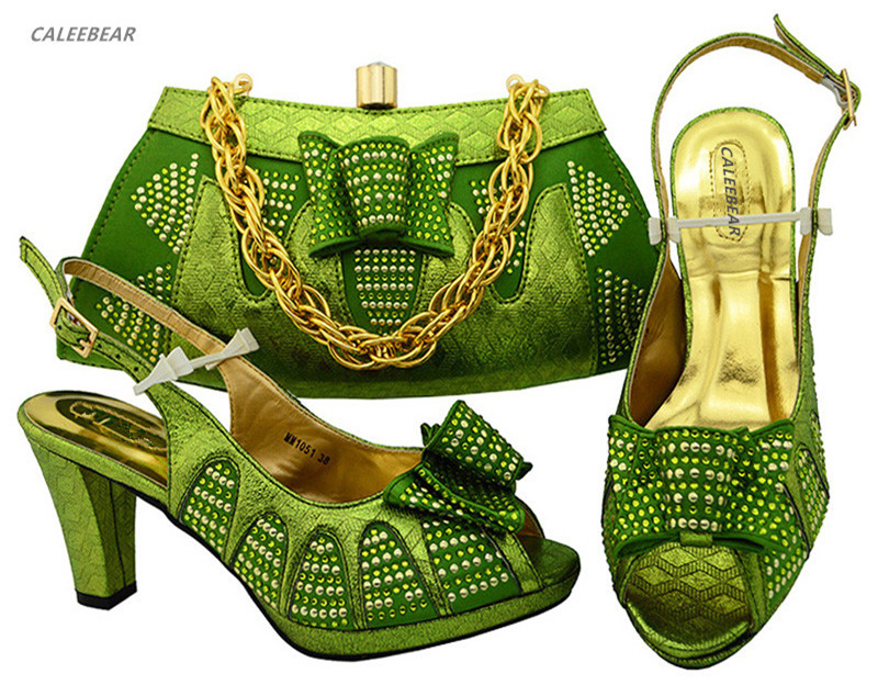 Shoes Bag Set Coming Italian Las New Bags Green And Wedding In Match