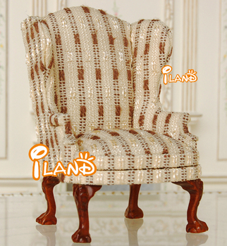 Striped Sofas Living Room Furniture On Doll House Mini Sofa Living Room Furniture Single Wing Back Chair With Beige Stripe Jl0281