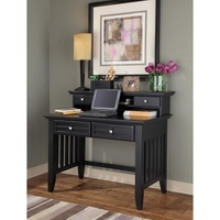 Modern design office furniture black solid wood writing desk with hutch