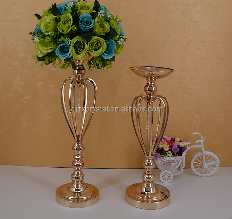 New Fashion Gold Plated Decorative Metal Flower Candle Holder With ...